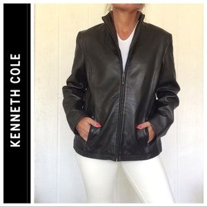 KENNETH COLE BLACK LEATHER STAND COLLAR JACKET LG